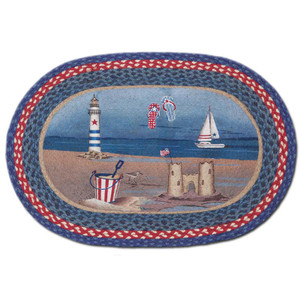 American Coast 20x30 Hand Printed Oval Braided Floor Rug OP-435