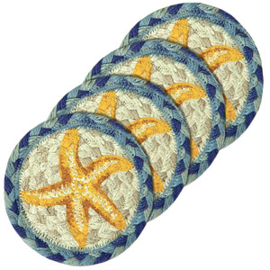 """Beach Printed Coasters from Earth Rugs - SET OF FOUR - 5"""" IC-378 - Starfish"""