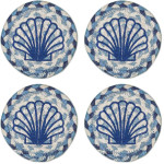 "Blue Scallop Coasters from Earth Rugs - SET OF FOUR - 5"" - IC-525S"