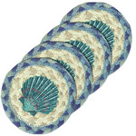 "Beach Printed Coasters from Earth Rugs - SET OF FOUR - 5"" IC-378 - Blue Scallop"
