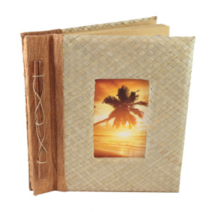"Cinnamon Palm Leaf Photo Album Scrapbook Handcrafted 9"" x 9.75"" x 1.25"