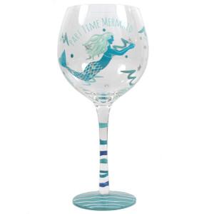 Mermaid Hand Painted Part Time Mermaid Stemware Wine Glass