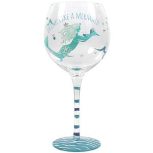 Mermaid Hand Painted Drink Like a Mermaid Stemware Wine Glass