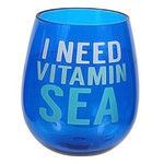 Beach Saying Blue Shatterproof Vitamin Sea Stemless Wine Glass - 20103V
