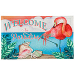 Welcome To Paradise Flamingo Embossed Floor Mat