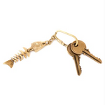 BRASS FISH BONES KEY RING K-1863