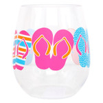 Stemless Colorful Flip Flop Shatterproof Wine Glass