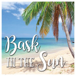 "Palm Tree Beach ""Bask in the Sun"" Single Absorbent Coaster - SB73371"