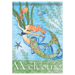 """Mermaid and Seahorse Welcome Garden Flag - 12""""x 18"""" - 46789"""
