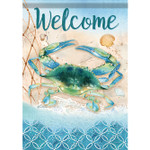 "Indigo Lagoon Crab Welcome Garden Flag - 12.5"" x 18"" - 46467"