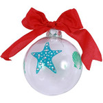 Starfish and Shell Glass Ornament Aqua and Blue