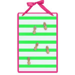Green Striped Magnetic Wall Board Sign with Pineapple Magnets 60571C