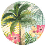 Palm Hibiscus Absorbent Stone Coaster for Car Cup Holder CB73129