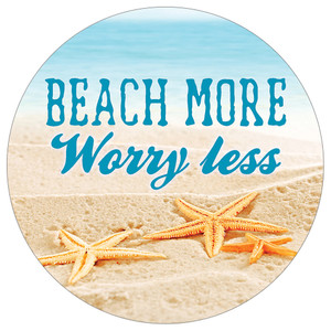 Beach More Worry Less Starfish Absorbent Stone Car Coaster CB73115