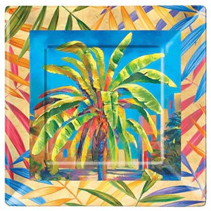 "Colorful Palm Tree Melamine 11"" Dinner Plate 39850"