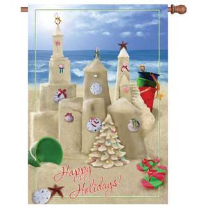"""Christmas """"Happy Beach Holidays"""" House Flag  - 28"""" x 40"""" - 52922"""