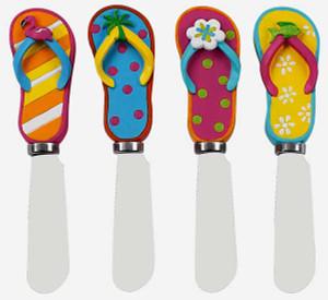 """Flip Flops Spreader Knives Set of 4 """"Sunshine Sandals"""" - 90723"""
