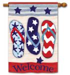 Flip Flops Patriotic House Flag 92698