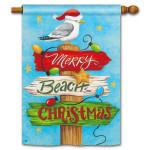 Merry Beach Christmas House Flag 99329
