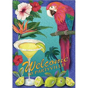 """Parrot Party Garden Flag """"Welcome to Partyville"""" -113194"""
