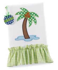 Palm Tree Applique Linen Guest Towel with Ruffle - 117056