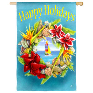 Happy Holidays Wreath House Flag 131388