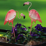 Flamingo Plant Picks Metal Ornament Set of 2 - 489869