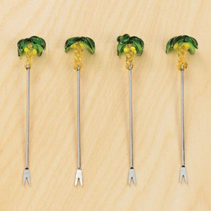 Palm Tree Glass Appetizer Picks Set of 4 - 656085