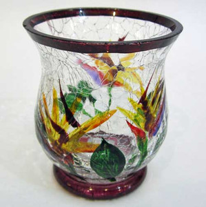 Bird of Paradise Crackle Glass Candle Holder 749838