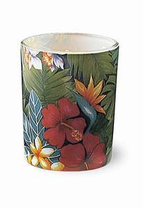 Lush Tropical Flowers Glass Votive Holder with Candle - 01412000