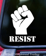 "RESIST with PROTEST FIST Vinyl Decal Sticker 5"" x 3.5"""