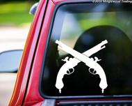 """CROSSED FLINTLOCK PISTOLS Vinyl Decal Sticker 9"""" x 9"""" Revolutionary War Guns"""