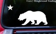 "CALIFORNIA BEAR with STAR Vinyl Decal Sticker 8"" x 4"" Grizzly Bear Flag"