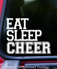"EAT SLEEP CHEER 5"" x 4"" Vinyl Decal Sticker - Cheerleader Varsity Cheerleading"