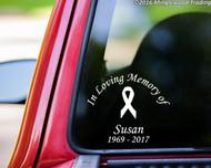 "Custom IN LOVING MEMORY OF Vinyl Decal Sticker 10"" x 10"" CANCER RIBBON"