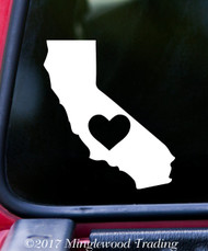 "CALIFORNIA HEART State Vinyl Decal Sticker 7"" x 6"" Love CA"