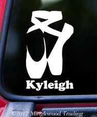 "BALLET SHOES Vinyl Decal Sticker w/ Personalized Name 6"" x 3.5"" Pointe Slippers"