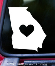 "GEORGIA HEART State Vinyl Decal Sticker 6"" x 5"" Love GA"