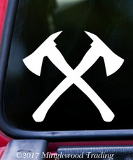 "CROSSED FIREFIGHTER AXES Vinyl Decal Sticker 5"" x 4.5"" Fireman Fire Dept"