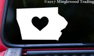 "IOWA HEART State Vinyl Decal Sticker 6"" x 4"" Love IA"