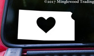 "KANSAS HEART State Vinyl Decal Sticker 6"" x 3.25"" Love KS"