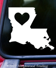 "LOUISIANA HEART State Vinyl Decal Sticker 6"" x 5.5"" Love LA"