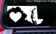 "MARYLAND HEART State Vinyl Decal Sticker 6"" x 3"" Love MD"