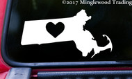 "MASSACHUSETTS HEART State Vinyl Decal Sticker 6"" x 3"" Love MA"