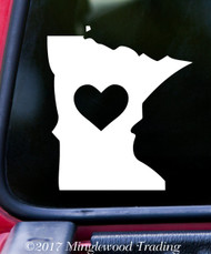 "MINNESOTA HEART State Vinyl Decal Sticker 6"" x 5.25"" Love MN"