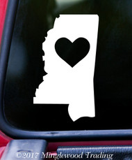 "MISSISSIPPI HEART State Vinyl Decal Sticker 6"" x 3.5"" Love MS"