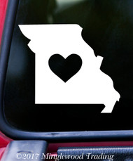 "MISSOURI HEART State Vinyl Decal Sticker 6"" x 5.25"" Love MO"