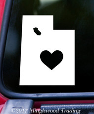 "UTAH HEART State Vinyl Decal Sticker 6"" x 4.75"" Love UT"
