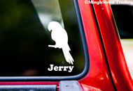 "PARROT w/ Personalized Name 6"" x 3"" Vinyl Decal Sticker - Tropical Bird"