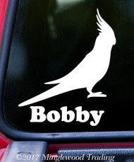 "COCKATIEL w/ Personalized Name 6"" x 5"" Vinyl Decal Sticker - Cockatoo"